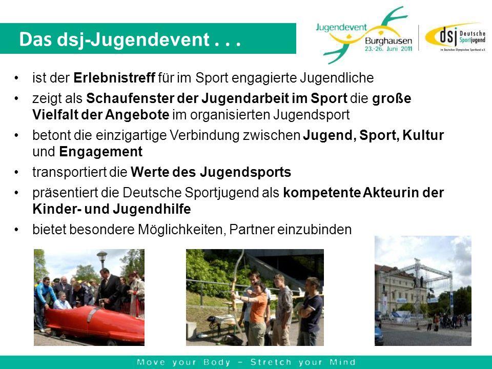 Das dsj-Jugendevent... ist der Erlebnistreff für im Sport engagierte Jugendliche zeigt als Schaufenster der Jugendarbeit im Sport die große Vielfalt d