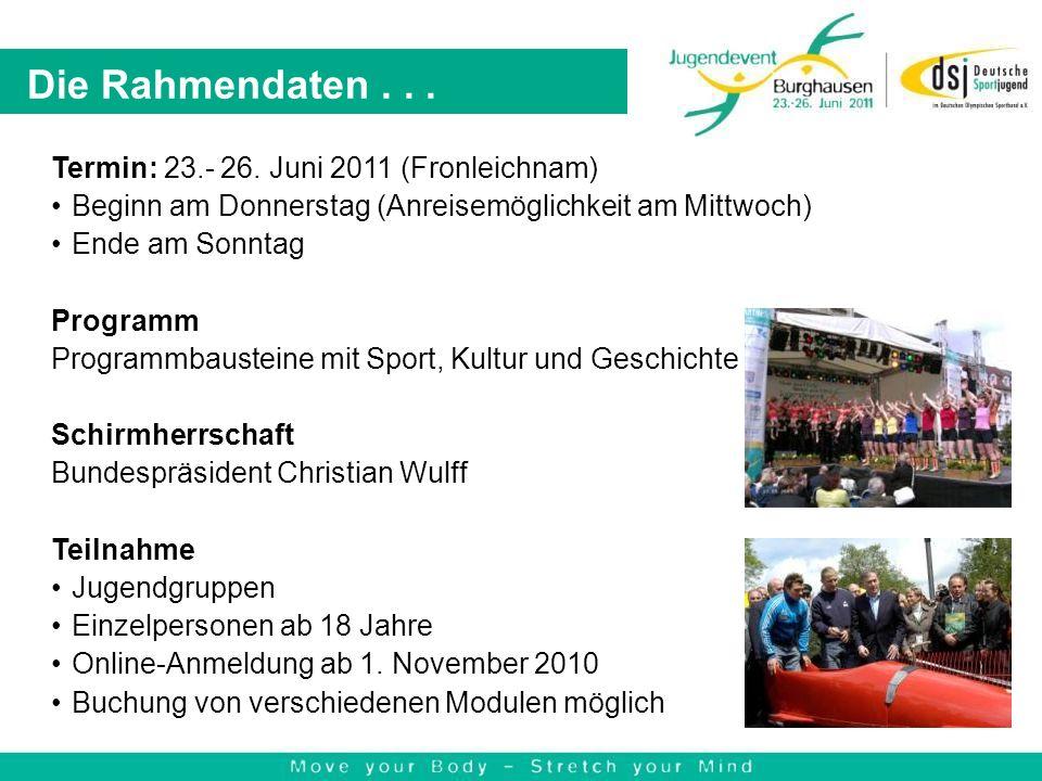 Die Rahmendaten... Termin: 23.- 26. Juni 2011 (Fronleichnam) Beginn am Donnerstag (Anreisemöglichkeit am Mittwoch) Ende am Sonntag Programm Programmba