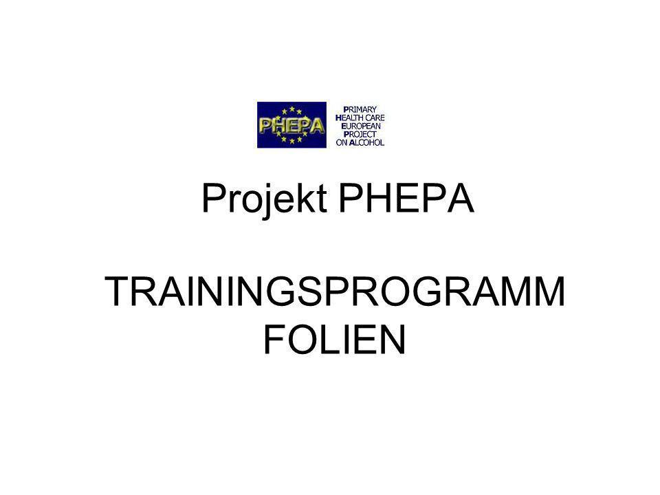 PHEPA Project 2 Inhalte des Trainingsprogramms Sitzung 1: Einleitung und grundlegende Begriffe Sitzung 2: Früherkennung Sitzung 3: Kurzintervention I Sitzung 4: Kurzintervention II Sitzung 5: Alkoholabhängigkeit Sitzung 6: Implementierung des Programms