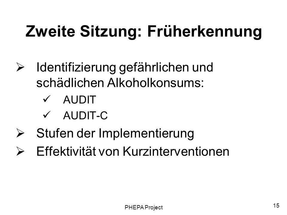 PHEPA Project 15 Zweite Sitzung: Früherkennung Identifizierung gefährlichen und schädlichen Alkoholkonsums: AUDIT AUDIT-C Stufen der Implementierung E