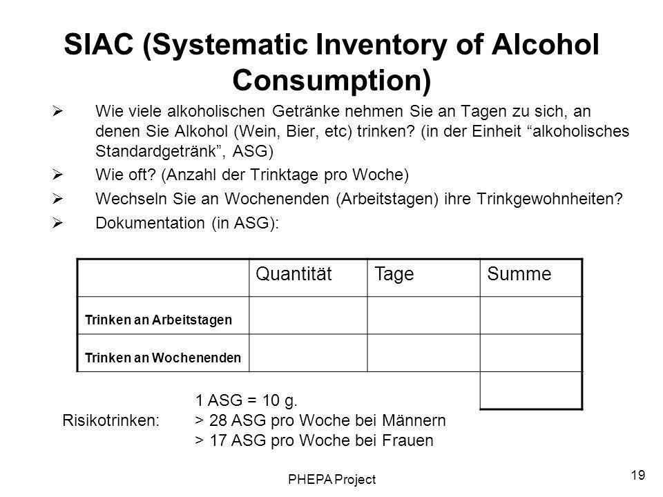 PHEPA Project 19 SIAC (Systematic Inventory of Alcohol Consumption) Wie viele alkoholischen Getränke nehmen Sie an Tagen zu sich, an denen Sie Alkohol