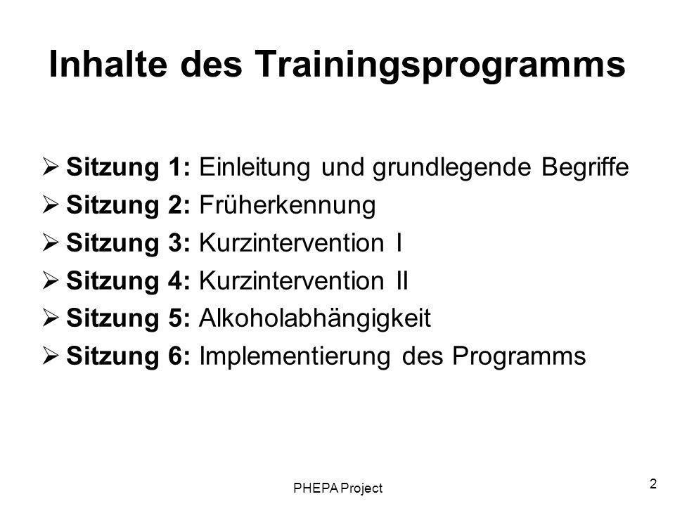 PHEPA Project 2 Inhalte des Trainingsprogramms Sitzung 1: Einleitung und grundlegende Begriffe Sitzung 2: Früherkennung Sitzung 3: Kurzintervention I