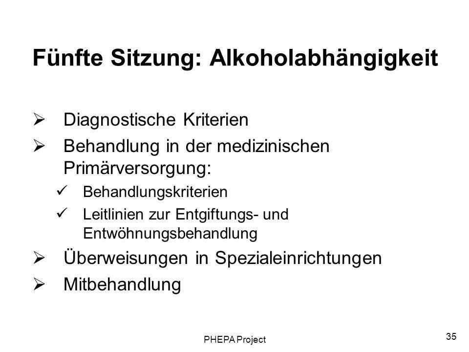 PHEPA Project 35 Fünfte Sitzung: Alkoholabhängigkeit Diagnostische Kriterien Behandlung in der medizinischen Primärversorgung: Behandlungskriterien Le