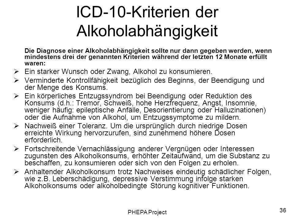 PHEPA Project 36 ICD-10-Kriterien der Alkoholabhängigkeit Die Diagnose einer Alkoholabhängigkeit sollte nur dann gegeben werden, wenn mindestens drei