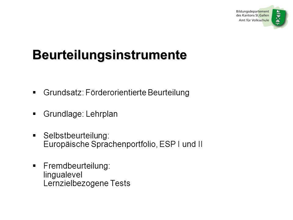 Beurteilungsinstrumente Grundsatz: Förderorientierte Beurteilung Grundlage: Lehrplan Selbstbeurteilung: Europäische Sprachenportfolio, ESP I und II Fremdbeurteilung: lingualevel Lernzielbezogene Tests
