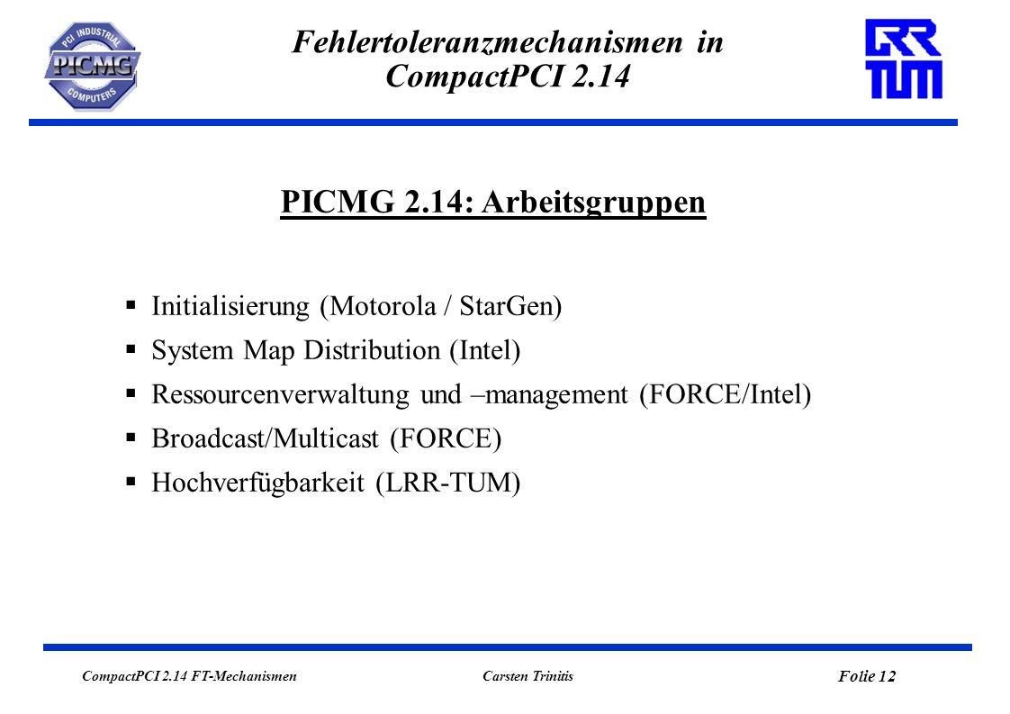 CompactPCI 2.14 FT-Mechanismen Folie 12 Carsten Trinitis Fehlertoleranzmechanismen in CompactPCI 2.14 Initialisierung (Motorola / StarGen) System Map