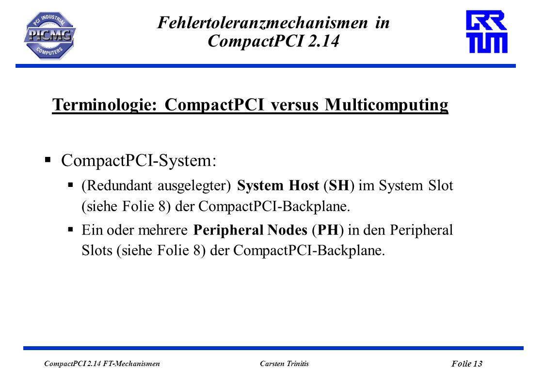 CompactPCI 2.14 FT-Mechanismen Folie 13 Carsten Trinitis Fehlertoleranzmechanismen in CompactPCI 2.14 Terminologie: CompactPCI versus Multicomputing C