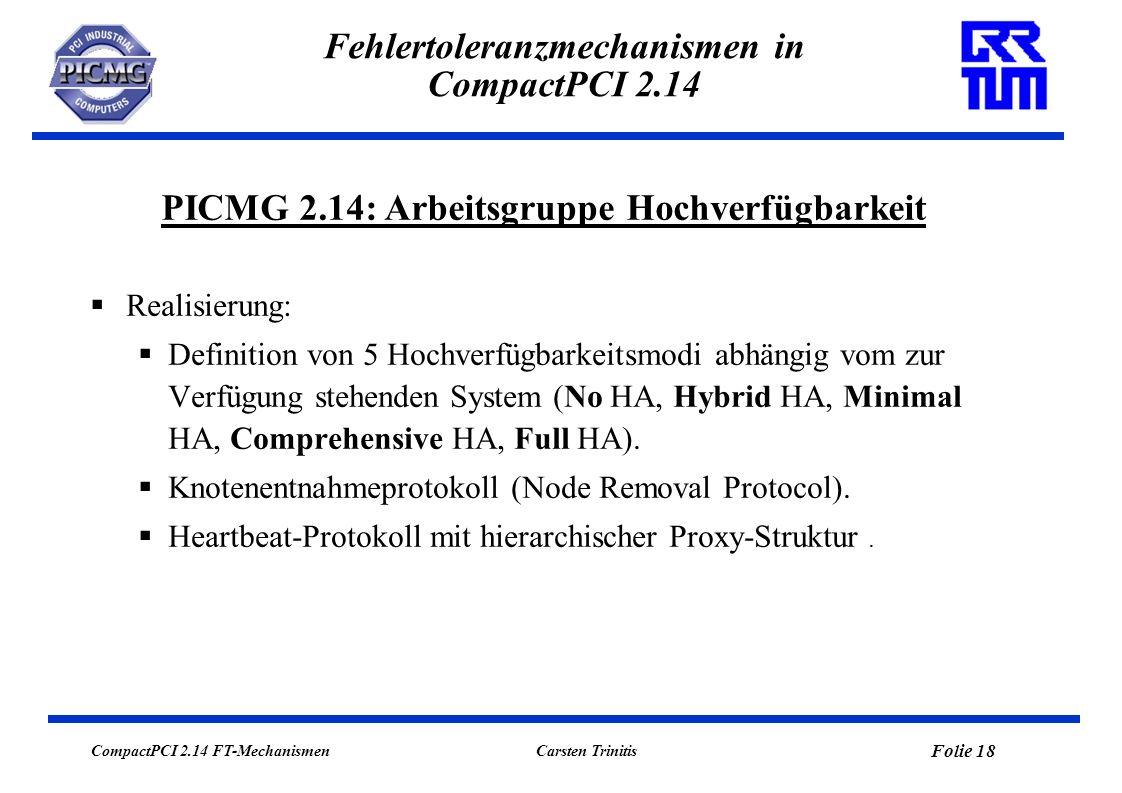 CompactPCI 2.14 FT-Mechanismen Folie 18 Carsten Trinitis Fehlertoleranzmechanismen in CompactPCI 2.14 Realisierung: Definition von 5 Hochverfügbarkeit
