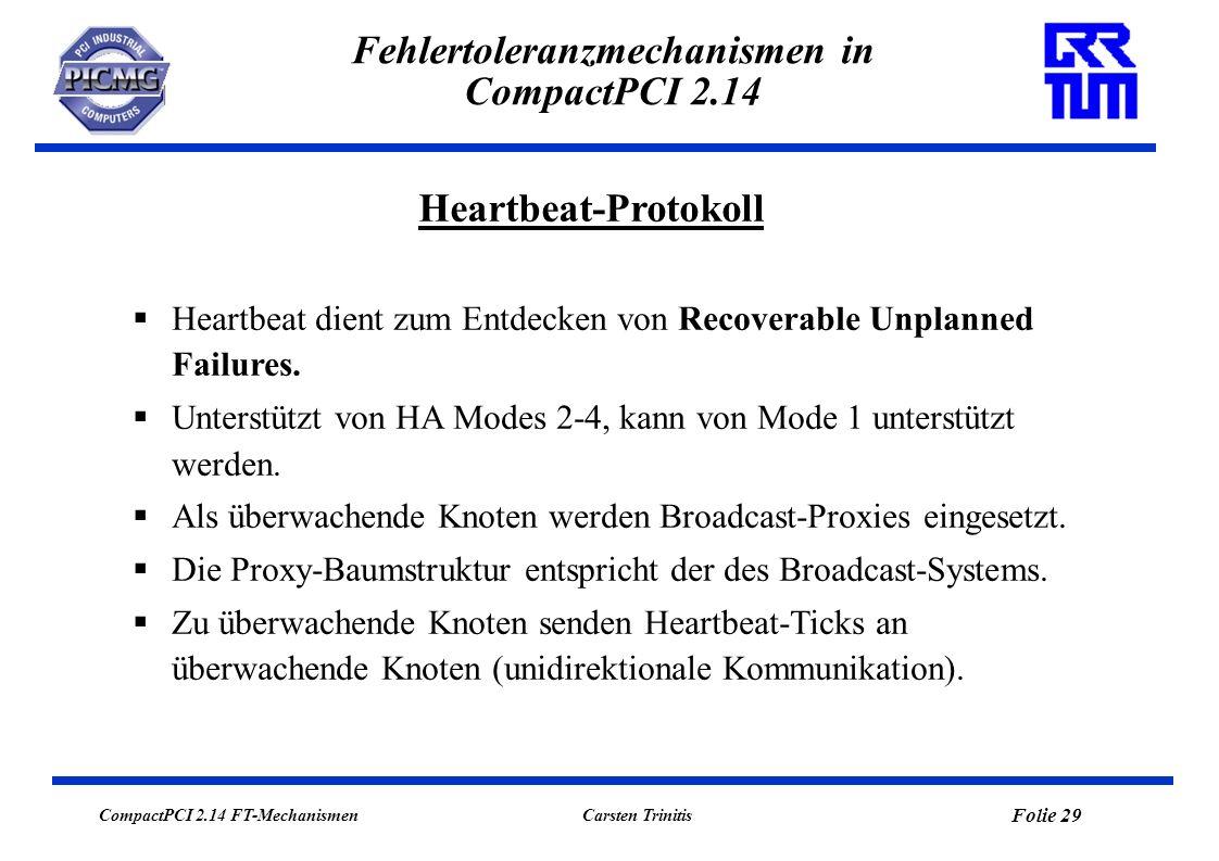 CompactPCI 2.14 FT-Mechanismen Folie 29 Carsten Trinitis Fehlertoleranzmechanismen in CompactPCI 2.14 Heartbeat-Protokoll Heartbeat dient zum Entdecken von Recoverable Unplanned Failures.