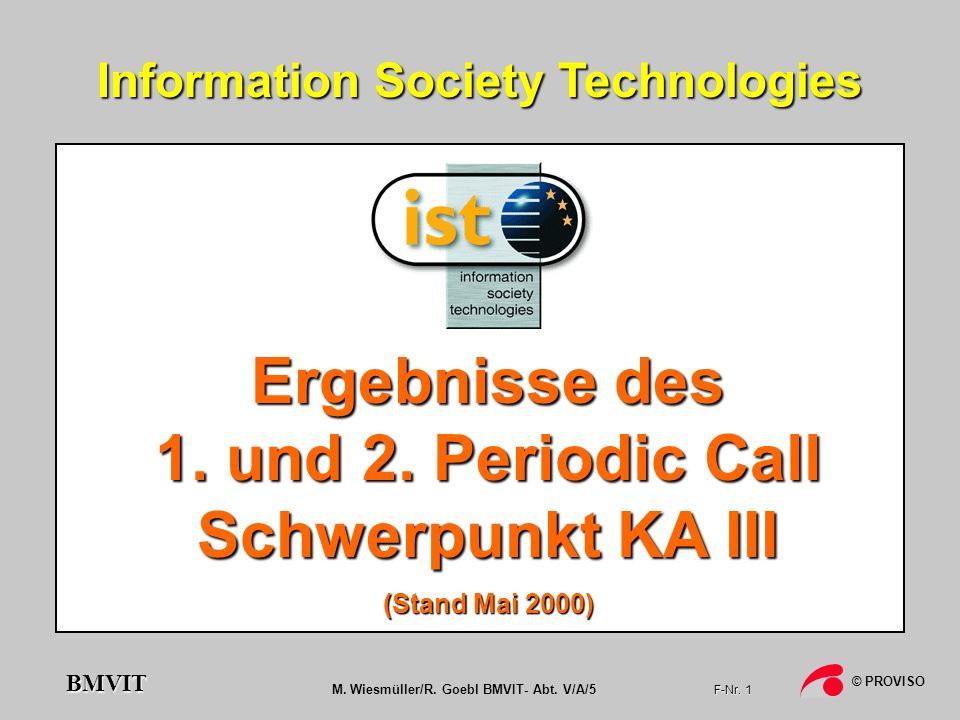 M. Wiesmüller/R. Goebl BMVIT- Abt. V/A/5 F-Nr. 1 © PROVISO BMVIT Information Society Technologies Ergebnisse des 1. und 2. Periodic Call Schwerpunkt K