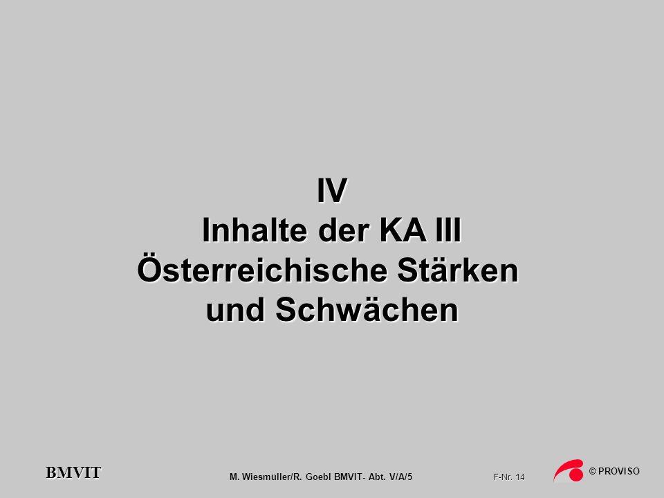 M. Wiesmüller/R. Goebl BMVIT- Abt. V/A/5 F-Nr. 14 © PROVISO BMVIT IV Inhalte der KA III Österreichische Stärken und Schwächen