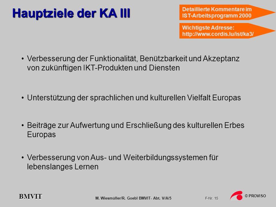 M. Wiesmüller/R. Goebl BMVIT- Abt. V/A/5 F-Nr. 15 © PROVISO BMVIT Hauptziele der KA III Verbesserung der Funktionalität, Benützbarkeit und Akzeptanz v