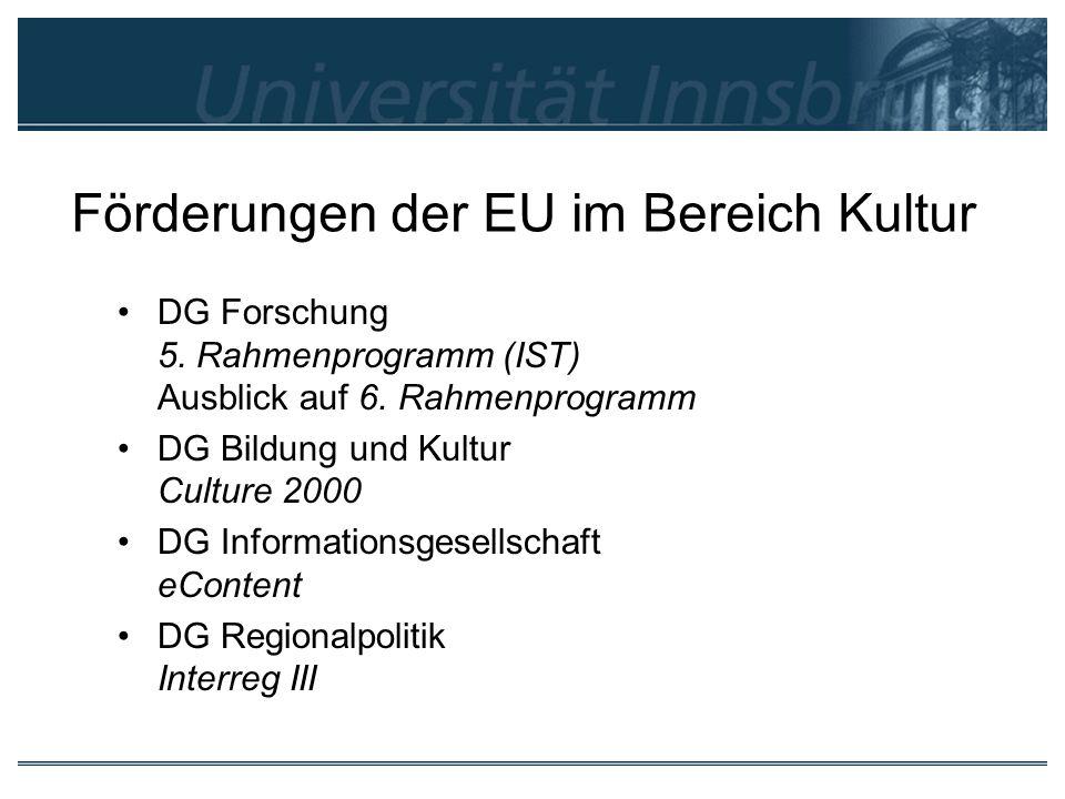 Förderungen der EU im Bereich Kultur DG Forschung 5. Rahmenprogramm (IST) Ausblick auf 6. Rahmenprogramm DG Bildung und Kultur Culture 2000 DG Informa