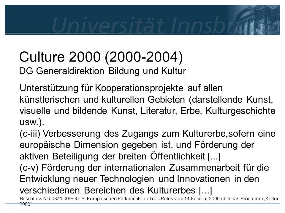 Culture 2000 (2000-2004) DG Generaldirektion Bildung und Kultur Unterstützung für Kooperationsprojekte auf allen künstlerischen und kulturellen Gebiet