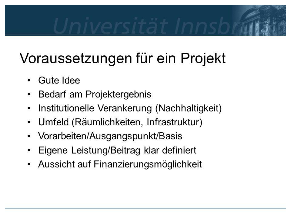 Voraussetzungen für ein Projekt Gute Idee Bedarf am Projektergebnis Institutionelle Verankerung (Nachhaltigkeit) Umfeld (Räumlichkeiten, Infrastruktur