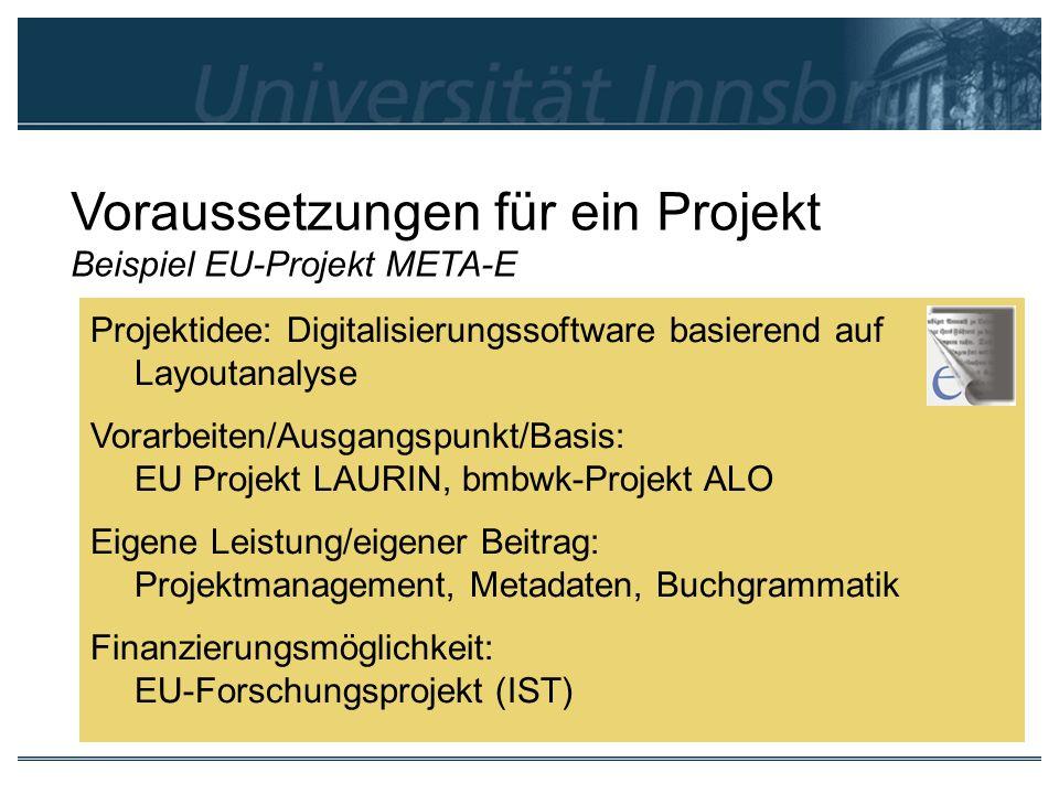 Voraussetzungen für ein Projekt Beispiel EU-Projekt META-E Projektidee: Digitalisierungssoftware basierend auf Layoutanalyse Vorarbeiten/Ausgangspunkt