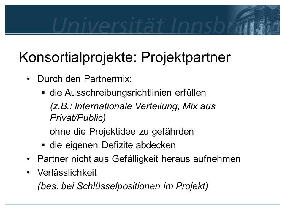 Konsortialprojekte: Projektpartner Durch den Partnermix: die Ausschreibungsrichtlinien erfüllen (z.B.: Internationale Verteilung, Mix aus Privat/Publi