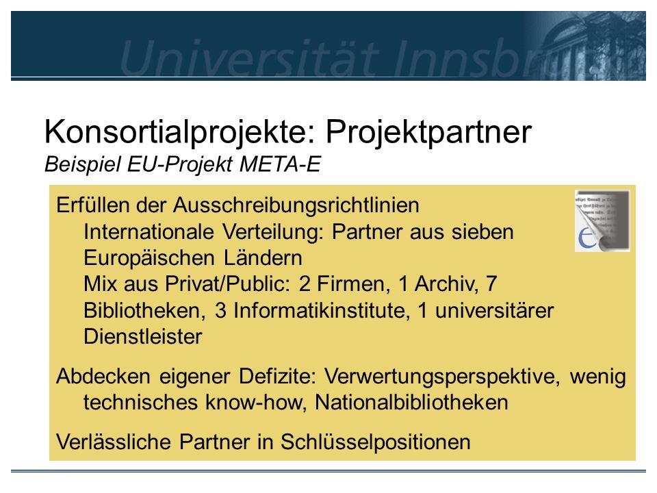 Konsortialprojekte: Projektpartner Beispiel EU-Projekt META-E Erfüllen der Ausschreibungsrichtlinien Internationale Verteilung: Partner aus sieben Eur