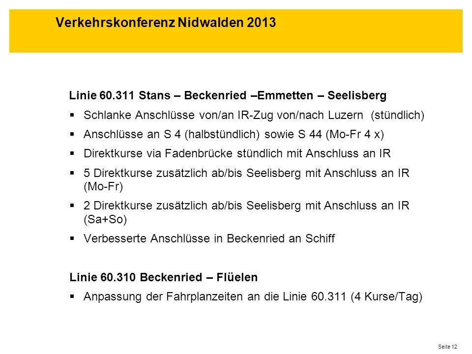 Seite 12 Linie 60.311 Stans – Beckenried –Emmetten – Seelisberg Schlanke Anschlüsse von/an IR-Zug von/nach Luzern (stündlich) Anschlüsse an S 4 (halbs