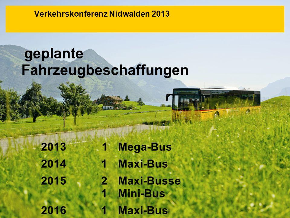 geplante Fahrzeugbeschaffungen 2013 1Mega-Bus 20141Maxi-Bus 20152Maxi-Busse 1Mini-Bus 20161Maxi-Bus 1 Midi-Bus Verkehrskonferenz Nidwalden 2013
