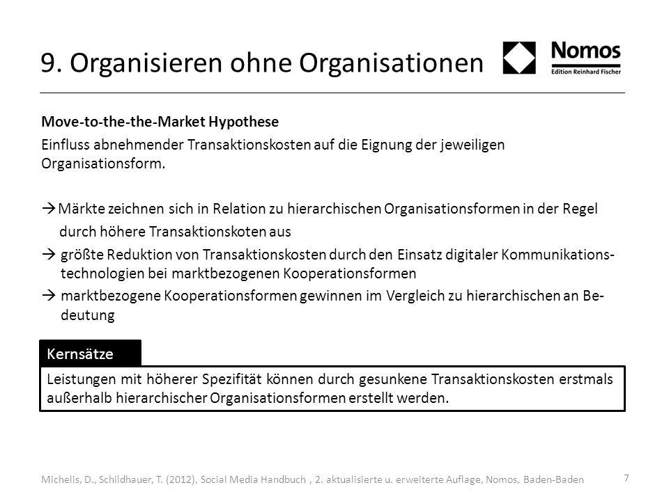 7 9. Organisieren ohne Organisationen Move-to-the-the-Market Hypothese Einfluss abnehmender Transaktionskosten auf die Eignung der jeweiligen Organisa