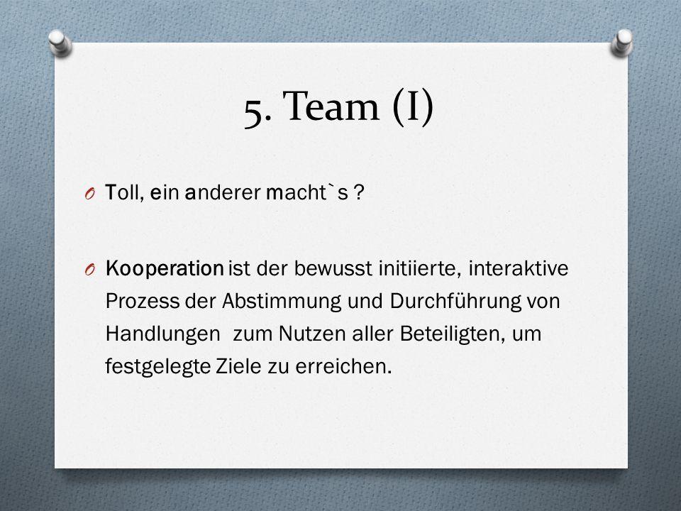 5. Team (I) O Toll, ein anderer macht`s ? O Kooperation ist der bewusst initiierte, interaktive Prozess der Abstimmung und Durchführung von Handlungen