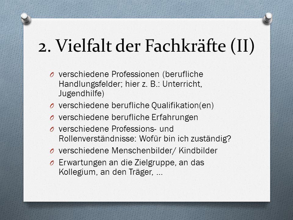 2. Vielfalt der Fachkräfte (II) O verschiedene Professionen (berufliche Handlungsfelder; hier z. B.: Unterricht, Jugendhilfe) O verschiedene beruflich