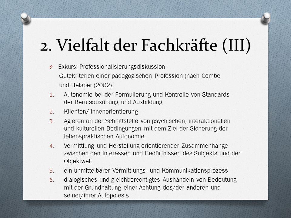 2. Vielfalt der Fachkräfte (III) O Exkurs: Professionalisierungsdiskussion Gütekriterien einer pädagogischen Profession (nach Combe und Helsper (2002)