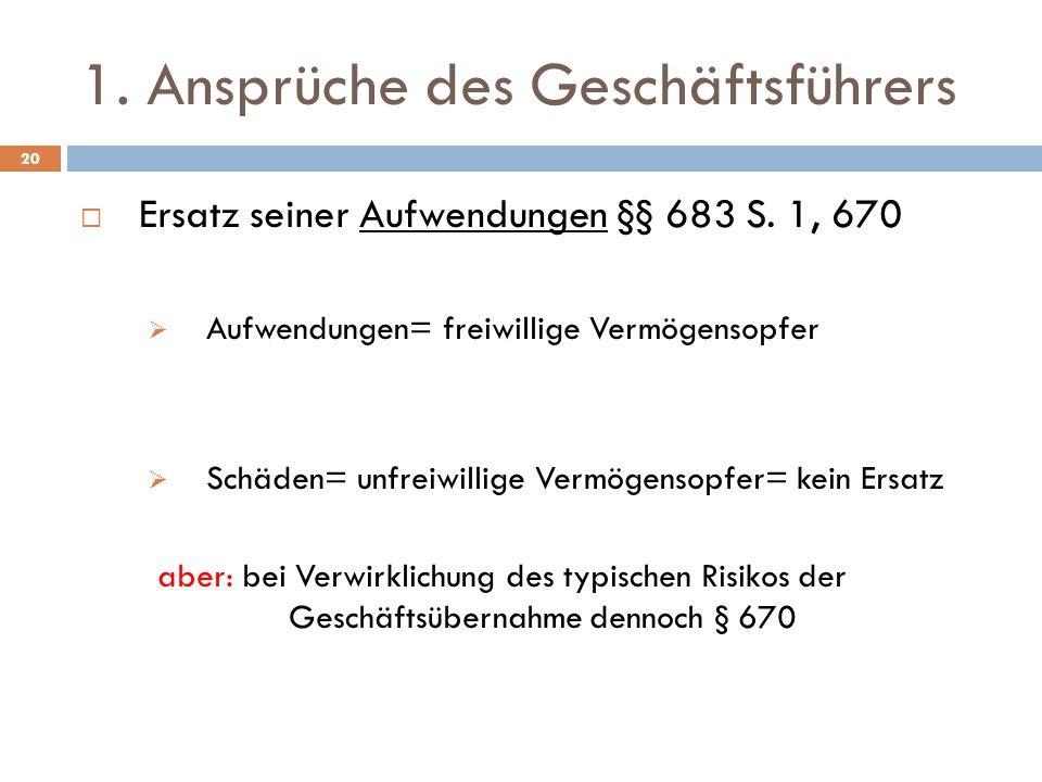 1. Ansprüche des Geschäftsführers 20 Ersatz seiner Aufwendungen §§ 683 S. 1, 670 Aufwendungen= freiwillige Vermögensopfer Schäden= unfreiwillige Vermö
