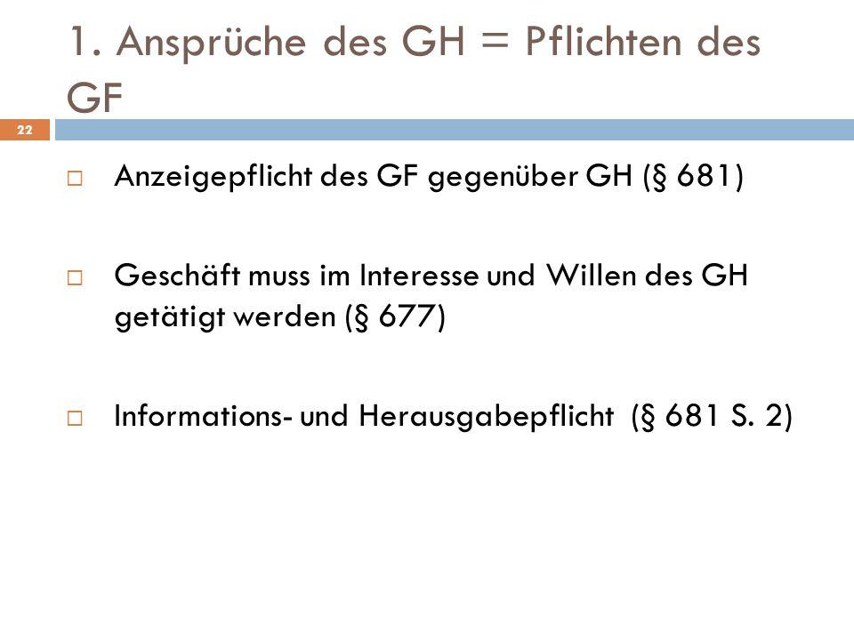 1. Ansprüche des GH = Pflichten des GF 22 Anzeigepflicht des GF gegenüber GH (§ 681) Geschäft muss im Interesse und Willen des GH getätigt werden (§ 6
