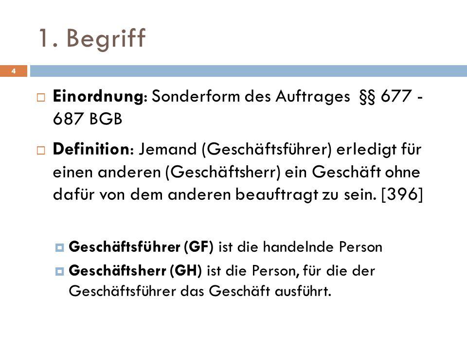 1. Begriff 4 Einordnung: Sonderform des Auftrages §§ 677 - 687 BGB Definition: Jemand (Geschäftsführer) erledigt für einen anderen (Geschäftsherr) ein