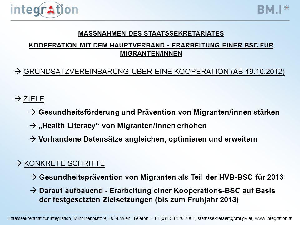 Staatssekretariat für Integration, Minoritenplatz 9, 1014 Wien, Telefon: +43-(0)1-53 126-7001, staatssekretaer@bmi.gv.at, www.integration.at MASSNAHMEN DES STAATSSEKRETARIATES KOOPERATION MIT DEM HAUPTVERBAND - ERARBEITUNG EINER BSC FÜR MIGRANTEN/INNEN GRUNDSATZVEREINBARUNG ÜBER EINE KOOPERATION (AB 19.10.2012) ZIELE Gesundheitsförderung und Prävention von Migranten/innen stärken Gesundheitsförderung und Prävention von Migranten/innen stärken Health Literacy von Migranten/innen erhöhen Vorhandene Datensätze angleichen, optimieren und erweitern KONKRETE SCHRITTE Gesundheitsprävention von Migranten als Teil der HVB-BSC für 2013 Darauf aufbauend - Erarbeitung einer Kooperations-BSC auf Basis der festgesetzten Zielsetzungen (bis zum Frühjahr 2013)