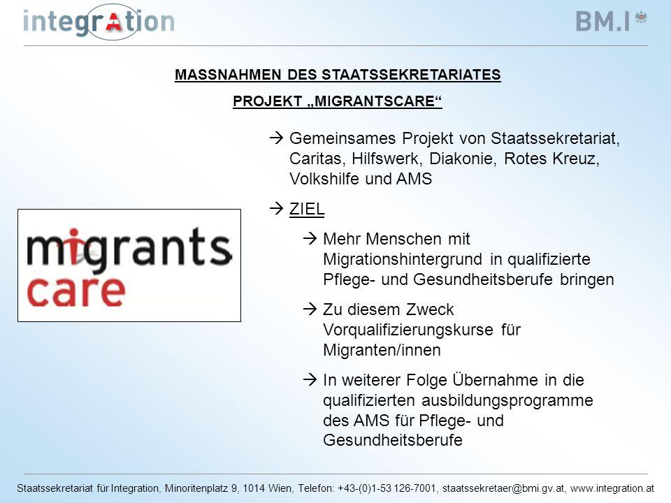 Staatssekretariat für Integration, Minoritenplatz 9, 1014 Wien, Telefon: +43-(0)1-53 126-7001, staatssekretaer@bmi.gv.at, www.integration.at Gemeinsames Projekt von Staatssekretariat, Caritas, Hilfswerk, Diakonie, Rotes Kreuz, Volkshilfe und AMS ZIEL Mehr Menschen mit Migrationshintergrund in qualifizierte Pflege- und Gesundheitsberufe bringen Zu diesem Zweck Vorqualifizierungskurse für Migranten/innen In weiterer Folge Übernahme in die qualifizierten ausbildungsprogramme des AMS für Pflege- und Gesundheitsberufe MASSNAHMEN DES STAATSSEKRETARIATES PROJEKT MIGRANTSCARE