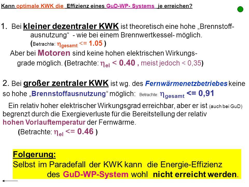 Kann optimale KWK die Effizienz eines GuD-WP- Systems je erreichen? 1. Bei kleiner dezentraler KWK ist theoretisch eine hohe Brennstoff- ausnutzung -
