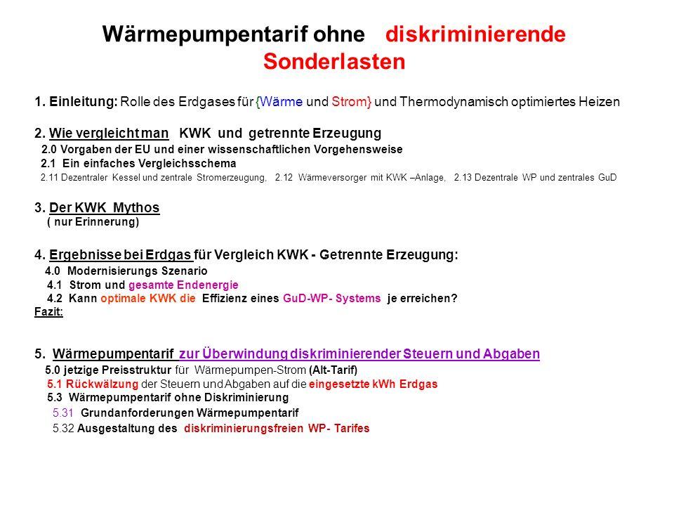 1. Einleitung: Rolle des Erdgases für {Wärme und Strom} und Thermodynamisch optimiertes Heizen 2. Wie vergleicht man KWK und getrennte Erzeugung 2.0 V