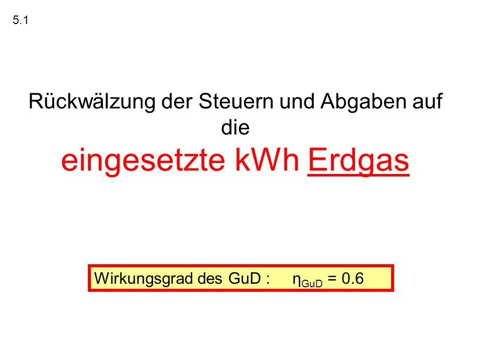 Rückwälzung der Steuern und Abgaben auf die eingesetzte kWh Erdgas 5.1 Wirkungsgrad des GuD : η GuD = 0.6