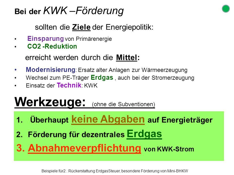 Bei der KWK –Förderung sollten die Ziele der Energiepolitik: Einsparung von Primärenergie CO2 -Reduktion erreicht werden durch die Mittel: Modernisier