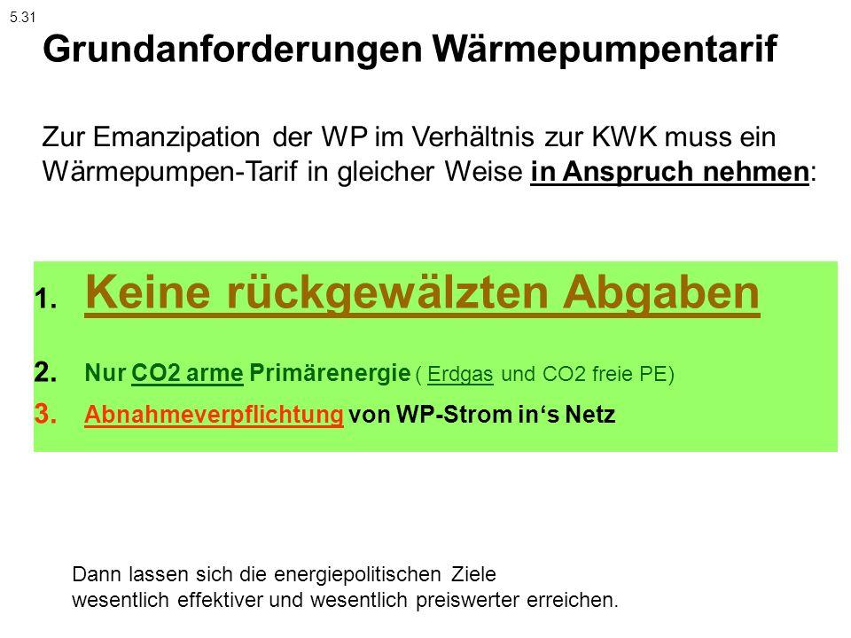 1. Keine rückgewälzten Abgaben 2. Nur CO2 arme Primärenergie ( Erdgas und CO2 freie PE) 3. Abnahmeverpflichtung von WP-Strom ins Netz Zur Emanzipation