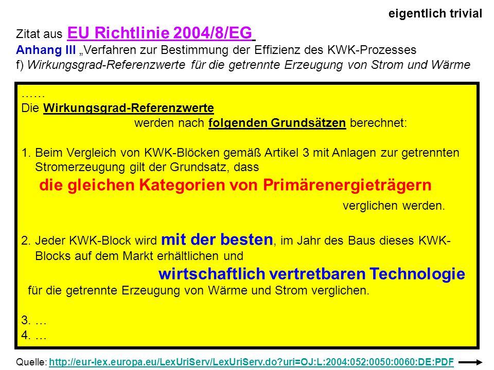Zitat aus EU Richtlinie 2004/8/EG Anhang III Verfahren zur Bestimmung der Effizienz des KWK-Prozesses f) Wirkungsgrad-Referenzwerte für die getrennte
