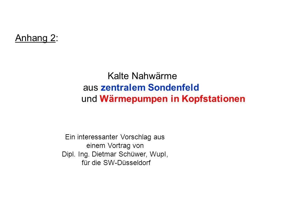 Kalte Nahwärme aus zentralem Sondenfeld und Wärmepumpen in Kopfstationen Ein interessanter Vorschlag aus einem Vortrag von Dipl. Ing. Dietmar Schüwer,