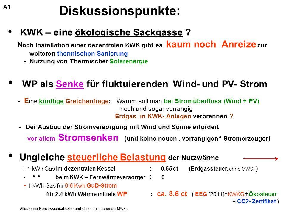 KWK – eine ökologische Sackgasse ? N ach Installation einer dezentralen KWK gibt es kaum noch Anreize zur - weiteren thermischen Sanierung - Nutzung v