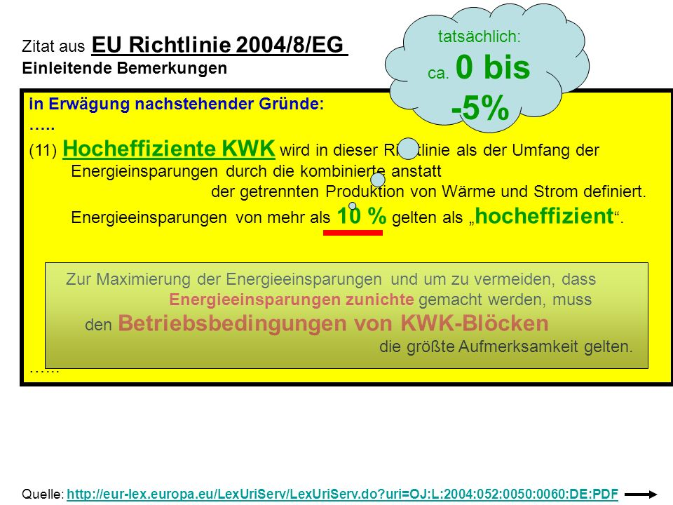 KWK als Hoffnungsträger zur Energieeinsparung Gesetzlicher Auftrag zur Verdoppelung der Stromerzeugung aus KWK auf eine Anteil von 25% bis 2020 AD (KWKG) Abnahmeverpflichtung von KWK-Strom Jährliche Subventionen in etwa Milliardenhöhe durch Einspeisevergütung gemäß : KWKG = Kraft-Wärme-Kopplungsgesetz 2009 und EEG = Erneuerbare-Energien-Gesetz 2009 (Finanziert durch Abwälzung auf Strompreis) und weitere Vergünstigungen ( z.B.