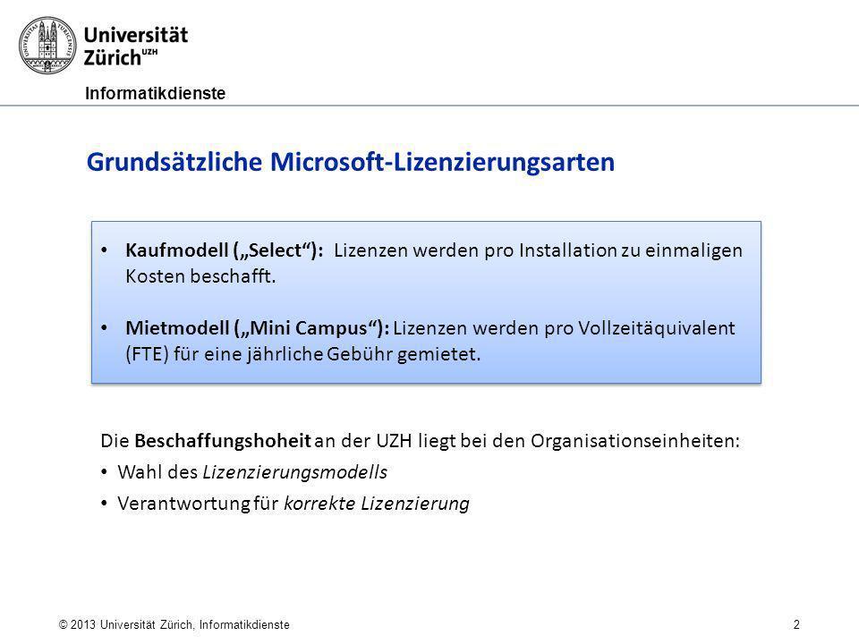 Informatikdienste Kaufmodell (Select): Lizenzen werden pro Installation zu einmaligen Kosten beschafft. Mietmodell (Mini Campus): Lizenzen werden pro
