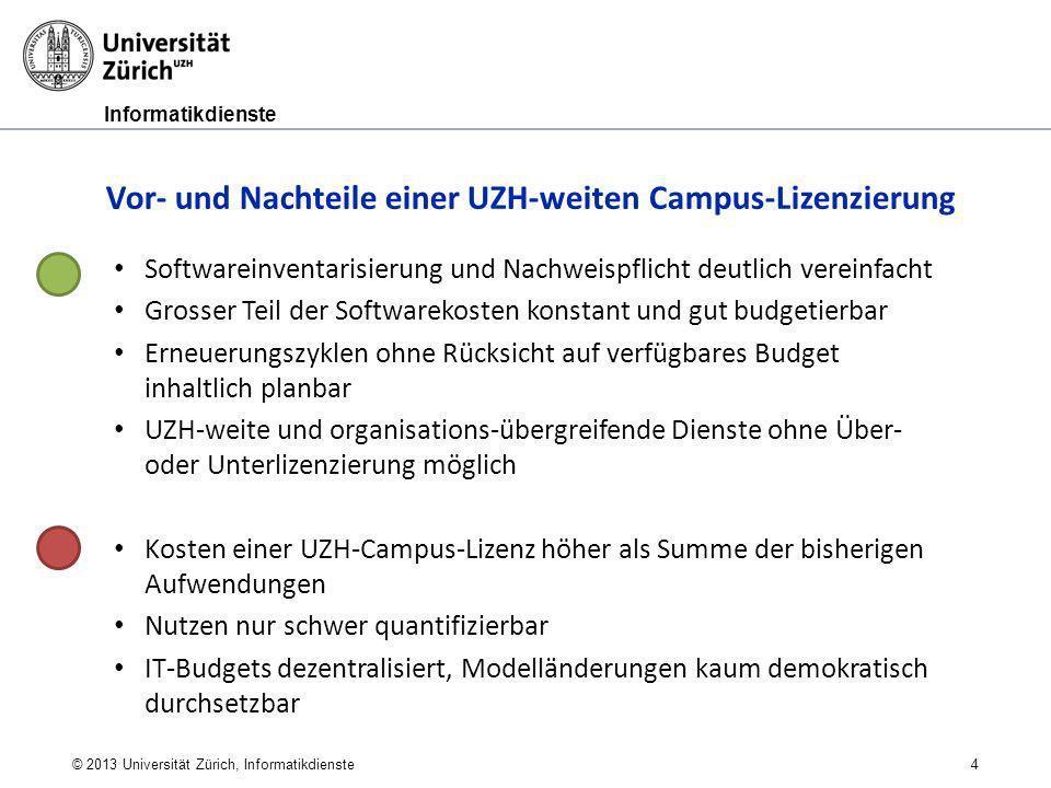 Informatikdienste © 2013 Universität Zürich, Informatikdienste 4 Vor- und Nachteile einer UZH-weiten Campus-Lizenzierung Softwareinventarisierung und