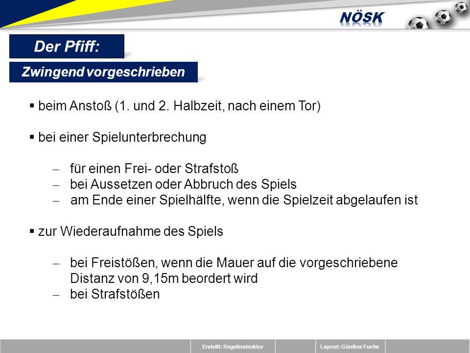 Erstellt: RegelinstruktorLayout: Günther Fuchs Der Pfiff: beim Anstoß (1. und 2. Halbzeit, nach einem Tor) bei einer Spielunterbrechung für einen Frei