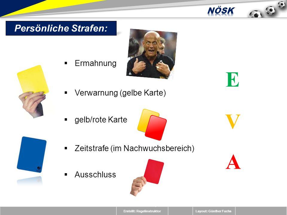 Erstellt: RegelinstruktorLayout: Günther Fuchs Persönliche Strafen: Ermahnung E V A Verwarnung (gelbe Karte) gelb/rote Karte Zeitstrafe (im Nachwuchsb