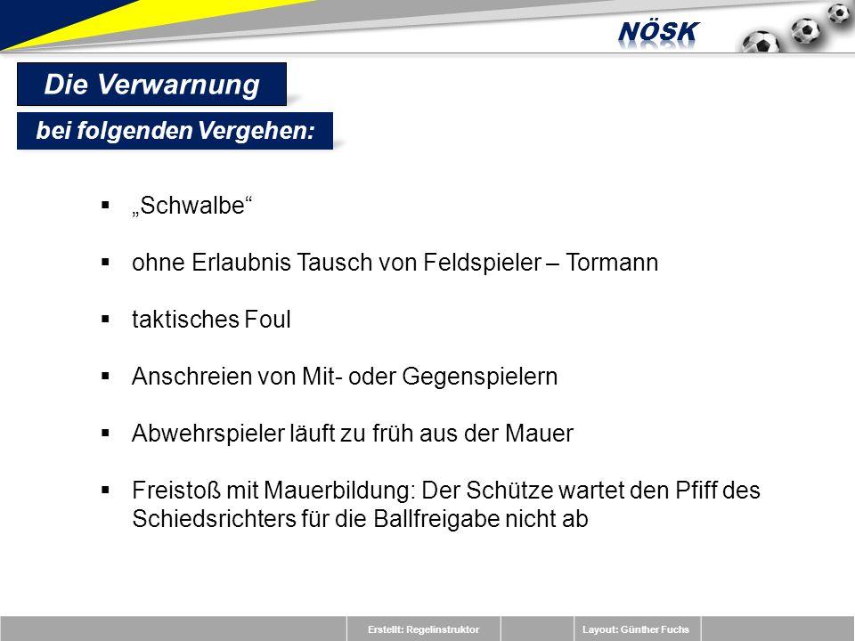 Erstellt: RegelinstruktorLayout: Günther Fuchs Schwalbe ohne Erlaubnis Tausch von Feldspieler – Tormann taktisches Foul Anschreien von Mit- oder Gegen