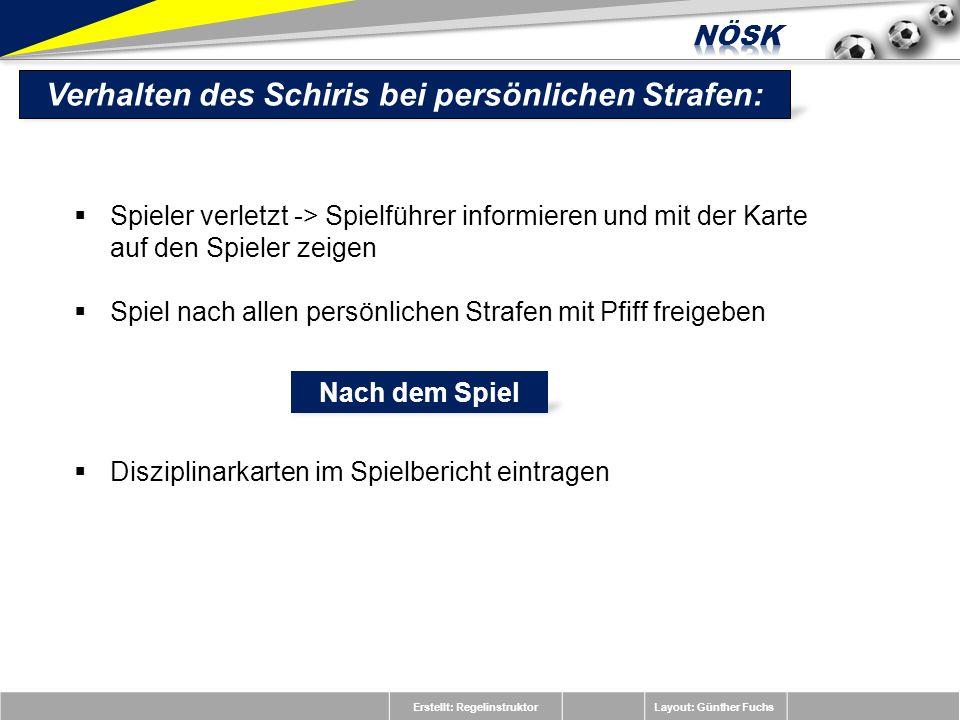 Erstellt: RegelinstruktorLayout: Günther Fuchs Spieler verletzt -> Spielführer informieren und mit der Karte auf den Spieler zeigen Spiel nach allen p