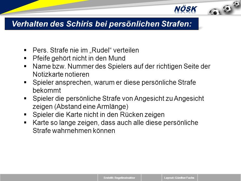 Erstellt: RegelinstruktorLayout: Günther Fuchs Pers. Strafe nie im Rudel verteilen Pfeife gehört nicht in den Mund Name bzw. Nummer des Spielers auf d