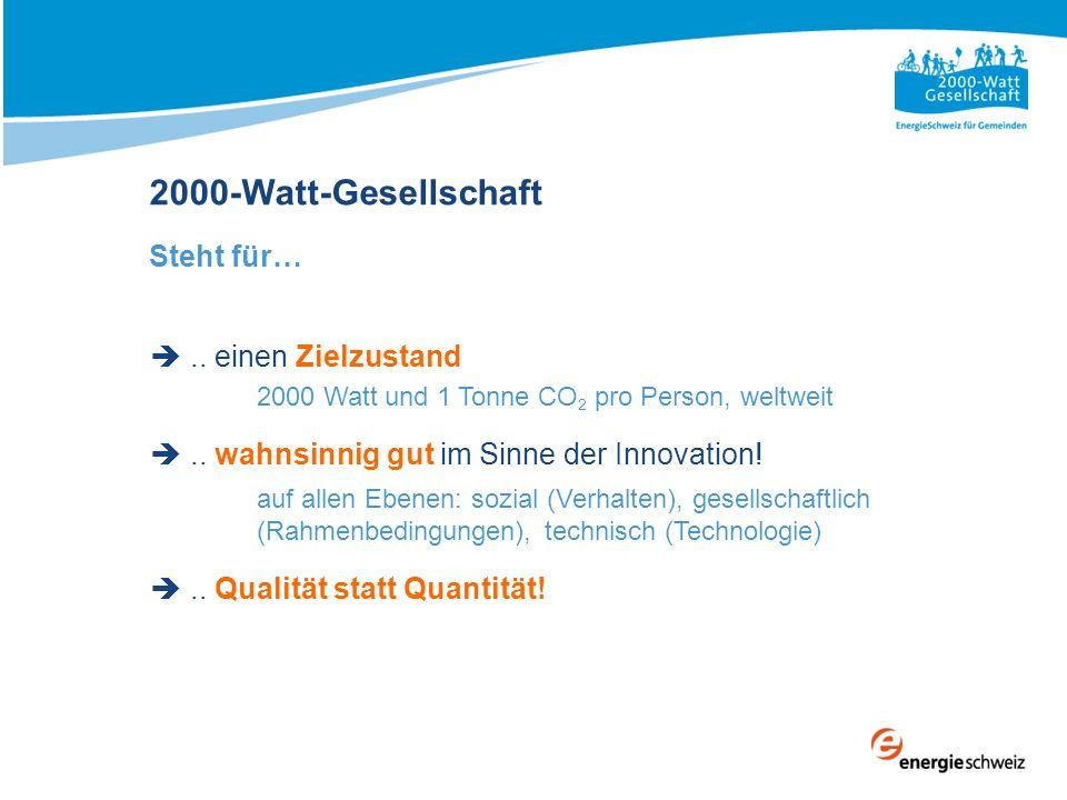 2000-Watt-Gesellschaft Steht für….. einen Zielzustand 2000 Watt und 1 Tonne CO 2 pro Person, weltweit.. wahnsinnig gut im Sinne der Innovation! auf al